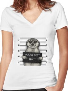 Meerkat Mugshot Women's Fitted V-Neck T-Shirt