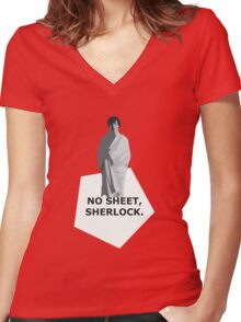 No sheet, Sherlock Women's Fitted V-Neck T-Shirt