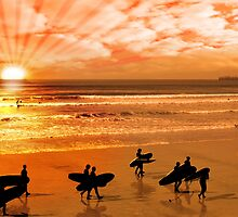 surfers walking on glorious sunset beach by morrbyte