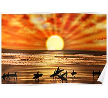surfers walking on sunset beach Poster