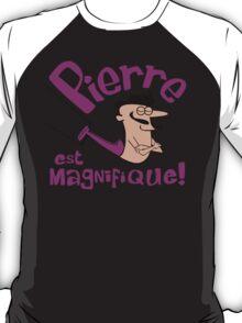 Pierre est Magnifique - cartoon drawing of trapeze artist with handsome mustache T-Shirt
