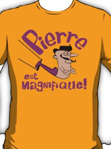 Pierre est Magnifique - cartoon drawing of trapeze artist with handsome mustache T-Shirt