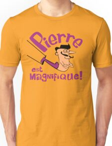 Pierre est Magnifique - cartoon drawing of trapeze artist with handsome mustache Unisex T-Shirt