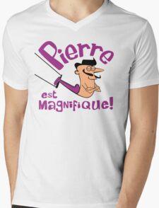 Pierre est Magnifique - cartoon drawing of trapeze artist with handsome mustache Mens V-Neck T-Shirt