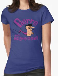 Pierre est Magnifique - cartoon drawing of trapeze artist with handsome mustache Womens Fitted T-Shirt