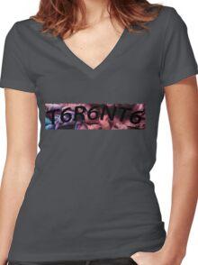 Toronto Logo Reverse BLACK Women's Fitted V-Neck T-Shirt