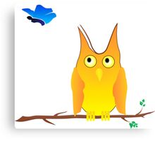 Owl and Butterfly Canvas Print