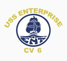 USS Enterprise CV-6 Crest for Dark Colors Kids Tee
