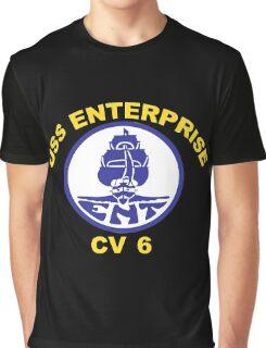 USS Enterprise CV-6 Crest for Dark Colors Graphic T-Shirt