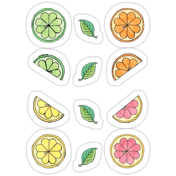 Citrus Ditzy Mini Stickers by Amy-Elyse Neer