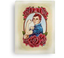 Rosie with Roses Canvas Print