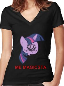 Twilight Sparkle ME GUSTA (Magicsta, Elements of Harmony) Women's Fitted V-Neck T-Shirt