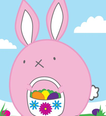 Easter Bunny with basket and eggs Sticker