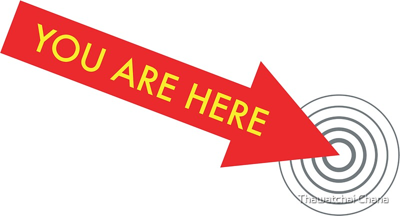 u0026quot;You are here. [Red]u0026quot; Stickers by icanfly : Redbubble