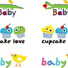 Stickers cupcakes crocodile & chick by Andi Bird