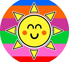 Hello Sunshine / Rainbow Background by Louise Parton
