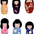 Kokeshi stickers 1 by Joumana Medlej