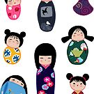 Kokeshi stickers 2 by Joumana Medlej