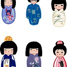 Kokeshi stickers 6 by Joumana Medlej