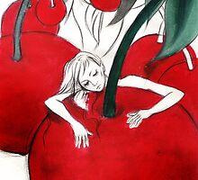 sleeping in a dreamy cherry garden by Aslisu Turkmen