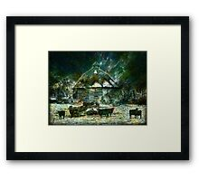 WINTERY ~ AT 10 SIDED BARN Framed Print