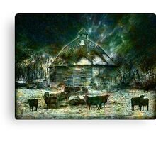 WINTERY ~ AT 10 SIDED BARN Canvas Print