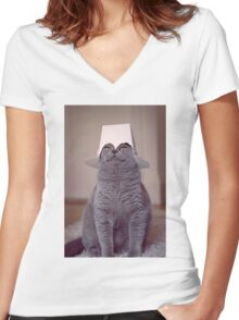 fig 1.4 - Cat with Chinese takeaway box on head Women's Fitted V-Neck T-Shirt