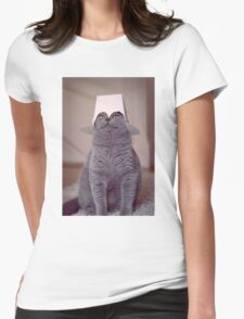 fig 1.4 - Cat with Chinese takeaway box on head Womens Fitted T-Shirt