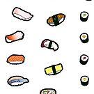 Sushi Sticker Set by thickblackoutline