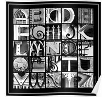Savannah Alphabet - Black and White, square Poster