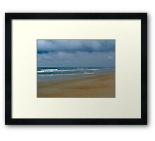 Cloudy Day At The Beach Framed Print