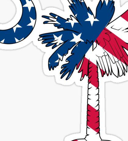 American Flag Palmetto Moon Sticker