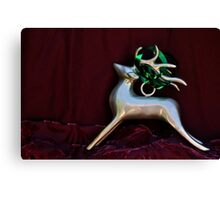Christmas:  Silver Reindeer Floating on a Deep Red Tree Skirt Canvas Print