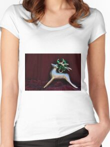 Christmas:  Silver Reindeer Floating on a Deep Red Tree Skirt Women's Fitted Scoop T-Shirt