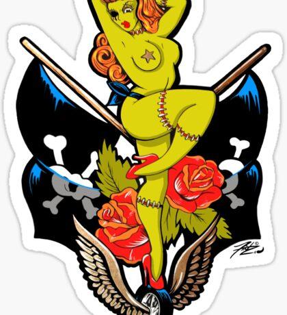Zombie Pin-Up Girl Die-Cut Sticker Sticker