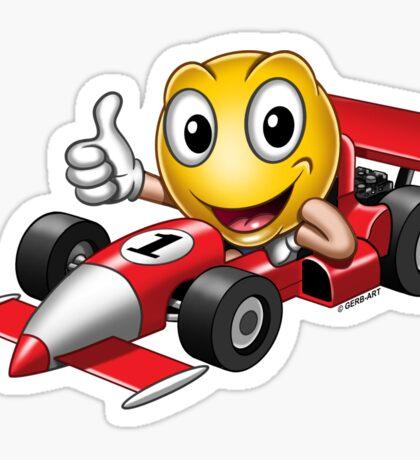 Smiley - Racing Car Sticker