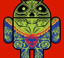 Dia de los Android Muertos STICKER by Vincent Carrozza