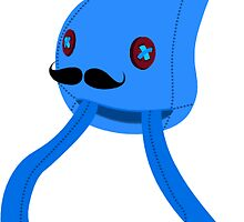 Mustache Squid - Sticker by Thomas Wells