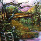 Carmel Valley River and Bridge, Spring by Barbara Sparhawk