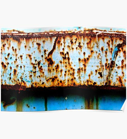 Blue Rust Shadow Line Poster