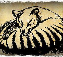 Sleeping Tasmanian Tiger (thylacine) by Cindy Watkins