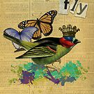 Vintage Bird Illustration Altered Art Stickers by Gidget26