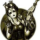 Steampunk Girl Sticker by Bethalynne Bajema