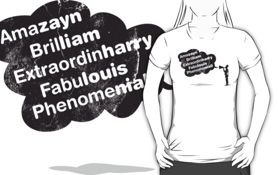 One Direction - Amazayn, Brilliam, Extraordinharry, Fabulouis and Phenomeniall in black tshirt by Adriana Owens