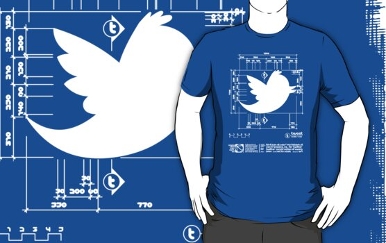 Twitter T Shirt, Bird Logo Dimensions by Jane McDougall