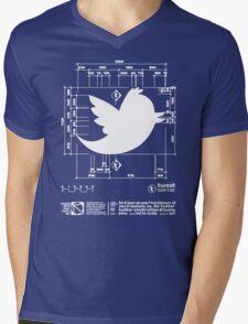 Twitter T Shirt, Bird Logo Dimensions Mens V-Neck T-Shirt