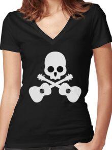 Old Skull Music Guitar Women's Fitted V-Neck T-Shirt