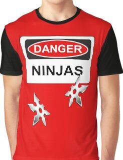 Danger Ninjas - Warning Sign & Throwing Stars Graphic T-Shirt