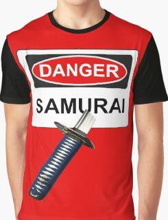 Danger Samurai - Warning Sign & Katana or Sword Graphic T-Shirt