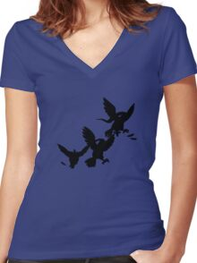 Pidgey Evolutions--Silhouettes Women's Fitted V-Neck T-Shirt